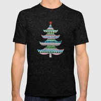 Christmas Tree Stripe Mens Fitted Tee Tri-Black SMALL