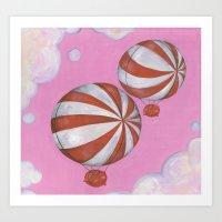 Peppermint Piggies Art Print