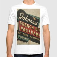 Johnnie's French Dip Pastrami Vintage/Retro Neon Sign Mens Fitted Tee White SMALL