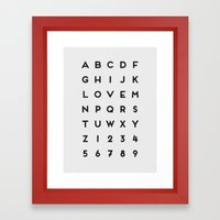 Letter Love - White Framed Art Print