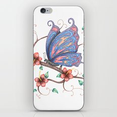 Butterfly And Flowers iPhone & iPod Skin