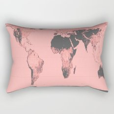 World Map: Gall Peters Pink Rectangular Pillow