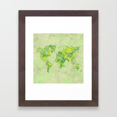World Map Green Vintage Framed Art Print