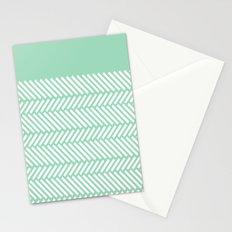 Herringbone Mint Boarder Stationery Cards