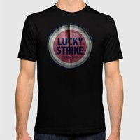 Vintage Lucky Strike Carton Mens Fitted Tee Black SMALL