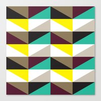 Yellow, purple, turquoise triangle pattern Canvas Print