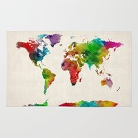 Watercolor Map Of The Wo… Rug