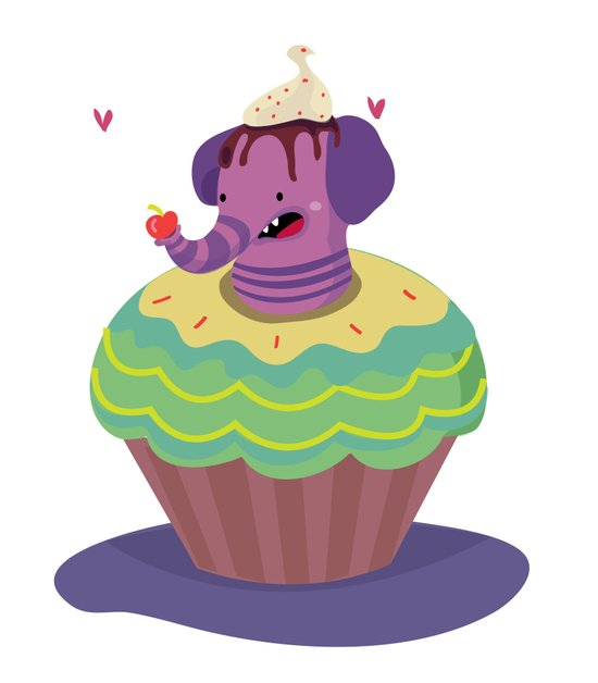 Elephant cupcake Canvas Print