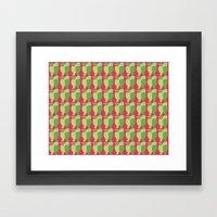 GREEN/LEMON BIRDS Framed Art Print