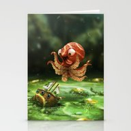 Stationery Cards featuring The Kraken! by Barak Ashraf