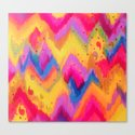 BOLD QUOTATION - Bright Vibrant Neon Quote Chevron Pattern Ikat Rainbow Trendy Design Fun Art Canvas Print