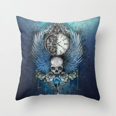 Wings of time - blue Throw Pillow
