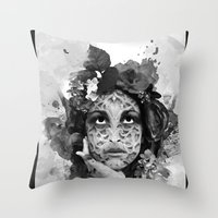 Abstract Portrait Blk/Wht Throw Pillow