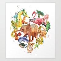 Animal Heart, safari, wild things, animal lover, heart print Art Print