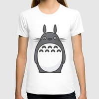 Totoro Pop Art - Blue Ve… Womens Fitted Tee White SMALL