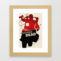 Daryl Dixon - Red and Black Framed Art Print