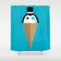Peppermint Penguin Shower Curtain
