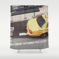 one way taxi:: nyc Shower Curtain