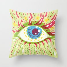 Front Looking Psychedelic Eye Throw Pillow
