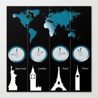 TIME ZONES. NEW YORK, LONDON, PARIS, TOKYO Canvas Print