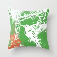 Goldfinch Mother - Sprin… Throw Pillow