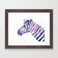 Zebra Watercolor Purple Stripes Framed Art Print