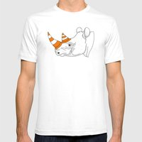 Rhino Video Player Mens Fitted Tee White SMALL