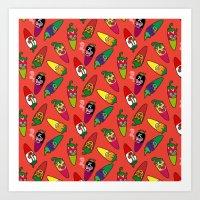 Red Hot Chili Pattern 01 Art Print