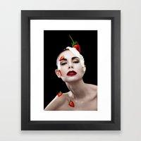 Strawberries & Cream Framed Art Print