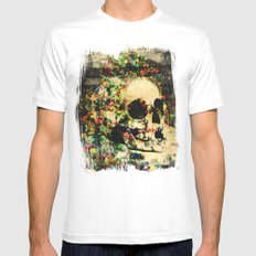 floral skully 2 Mens Fitted Tee White SMALL