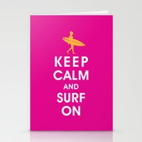 Keep Calm and Surf On (Surfer Girl) Stationery Cards