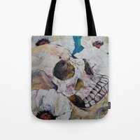 Skull With White Poppies Tote Bag