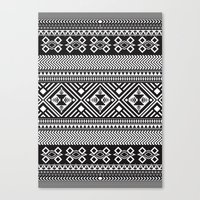 Monochrome Aztec Inspire… Canvas Print