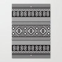 Monochrome Aztec inspired geometric pattern Canvas Print
