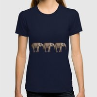 Elephant Fun Womens Fitted Tee Navy SMALL