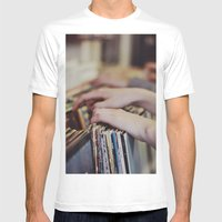 Flipping Through Mens Fitted Tee White SMALL