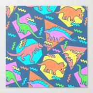 Nineties Dinosaur Patter… Canvas Print