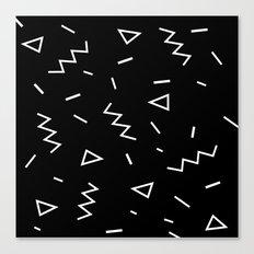 Inverted Black and White Zig Zag Print Canvas Print