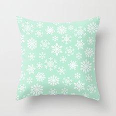 minty snow flakes Throw Pillow