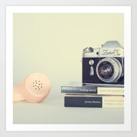 Film Camera and Pink Telephone (Retro and Vintage Still Life Photography) Art Print
