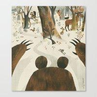 Along Came A Bear Canvas Print