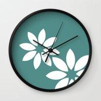 Flora2 (teal) Wall Clock