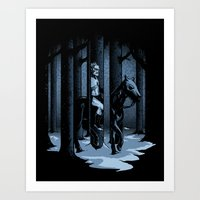 The Walker In The Woods Art Print