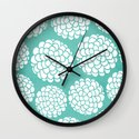 Turquoise Blossoms Wall Clock