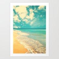 Waves Of The Sea (retro … Art Print