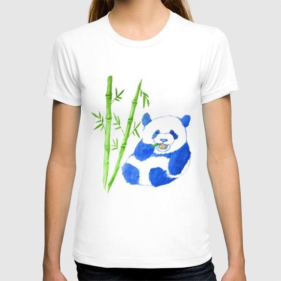 Panda eating bamboo Watercolor Print T-shirt