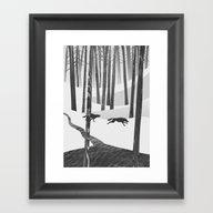 Framed Art Print featuring Martwood Wolves by Martynas Pavilonis