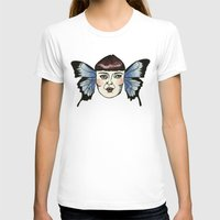 butterfly lady. Womens Fitted Tee White SMALL