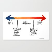 The Grilled Cheese Continuum of Love. Canvas Print