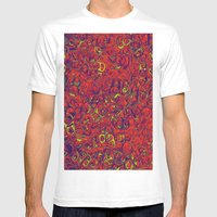 Ipad skins, Iphone, Computer, Canvas, Print, Red, Abstract, Funky Mens Fitted Tee White SMALL